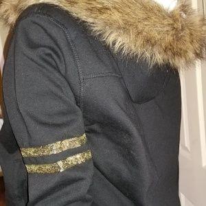 Guess Jackets & Coats - GUESS Women's Black Faux Fur Sherpa Lined Hoodie